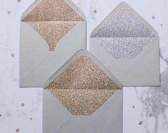 Silver or Gold glitter-lined dove grey envelopes - Pack of 10