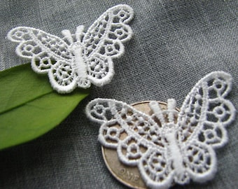 VENISE BUTTERFLY~ Appliques WHITE 50pc ~Bridal/Wedding ~Scrapbooking ~Baby/Doll