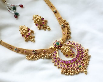 Haram, Temple Necklace,  Lakshmi  Necklace, Indian wedding, Bollywood, Polki Necklace, Indian Bridal Jewelry