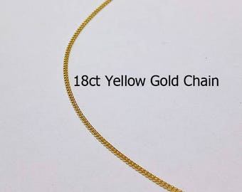 18ct 750 Solid Yellow Gold Curb Link Chain Necklace for Pendant Jewellery