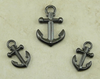 3 TierraCast Ship Anchor Pendant and Charms Mix Pack - Black Ox Plated Lead Free Pewter - I ship Internationally