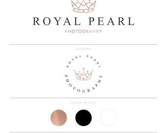 Rose Gold Crown Logo Complete Brand Marketing Kit Photography Royal Logo Premade Logo Business Event Logo Design Gold Foil Exclusive Logo