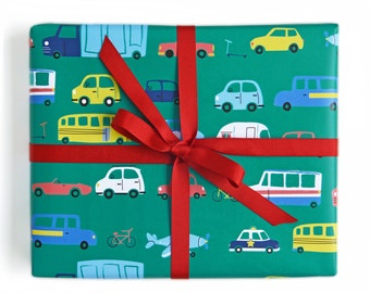 Wrapping Paper Cars and Trucks Gift Wrap - Birthday wrapping paper