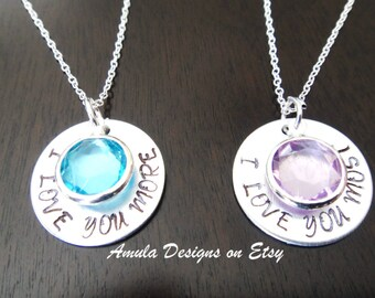 I Love You More and I Love You Most Rapunzel Mother Daughter Personalized Handstamped Birthstone Necklace Set