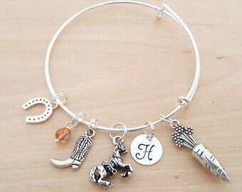 Equestrian Bracelet - Horse Lover Gift - Personalized Bracelet - Adjustable Bangle - Birthstone Bracelet - Personalized Jewelry