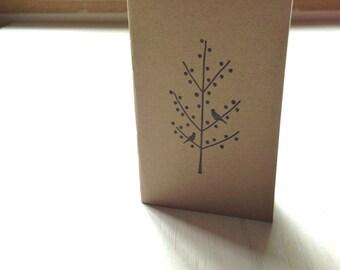 Pequeño cuaderno: Diario en blanco, árbol, negro, cuaderno, pequeño, marrón, Kraft, Jotter, diario Mini, pequeño cuaderno, estampado, exclusivo, KR91