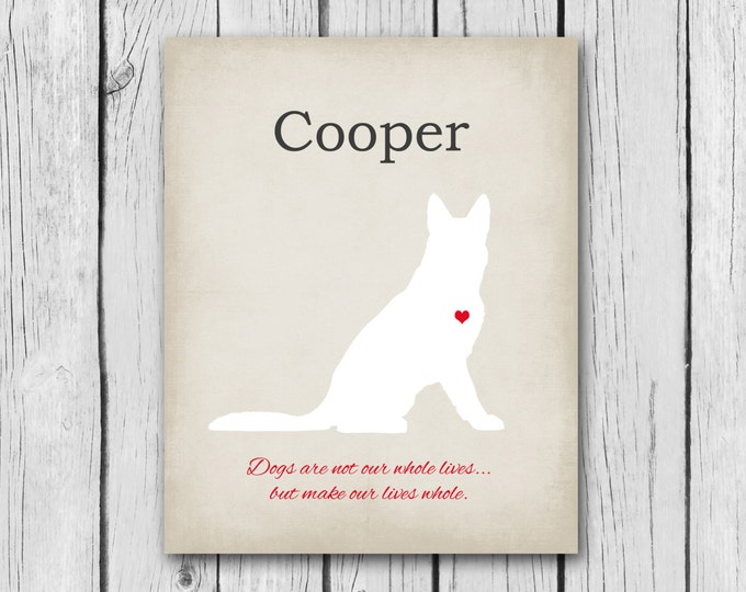 German Shepherd Gift - Pet Memorial Print, 100% Customizable - 8x10, Animal Silhouette - Dog Quotes, Funny Canine Animal Lover Gift Heart