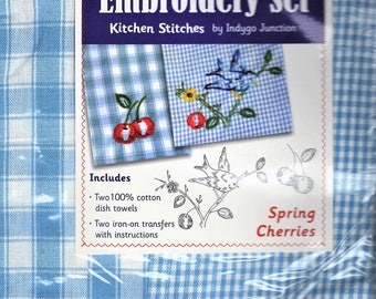 Spring Cherries Dish Towel Embroidery Set 2 Towels + 2 Transfer Pattern Kit