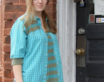 Upcycled teal and olive green womans shirt