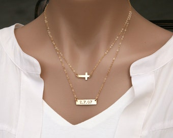 Set of two,double layer cross Bar necklace,Monogram Bar Necklace,Cross bar necklace,Initial necklace,rectangle bar necklace,faith jewelry