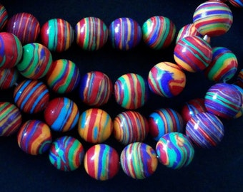 """1 - 15 1/2"""" Strand 8mm Smooth Multicolor Turquoise Round Spacer Focal Beads (50pc)"""