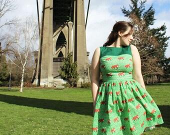 Lovely Fox Dress - Indie, Woodland, Forest Animals, Red Fox, Dark Green, Olive Green, emerald green