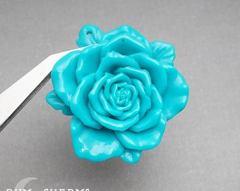 C0019 - Pendant Connector, Teal Colored , Huge Rose Flower Flat Back Cabochon , 2 Pieces