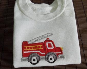 Fire Engine Shirt, Boy Fire Truck Shirt, Fire Engine Onesie, Fire Truck Onesie, Embroidered Fire Engine Shirt, Appliqued Fire Truck Shirt