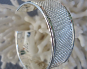 Silver Textured/Engraved Pattern Sterling Cuff