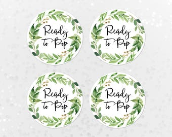 Ready to Pop Printable Baby Shower Stickers, Cupcake Toppers, Favor Tags, Popcorn Labels, Greenery Wreath, Green Leaf, Green Wreath 70J