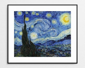Vincent Van Gogh - Starry Night, 1889 - Van Gogh Wall Art - Van Gogh Print - Van Gogh Art - Van Gogh Painting - Swirls - Famous Artwork