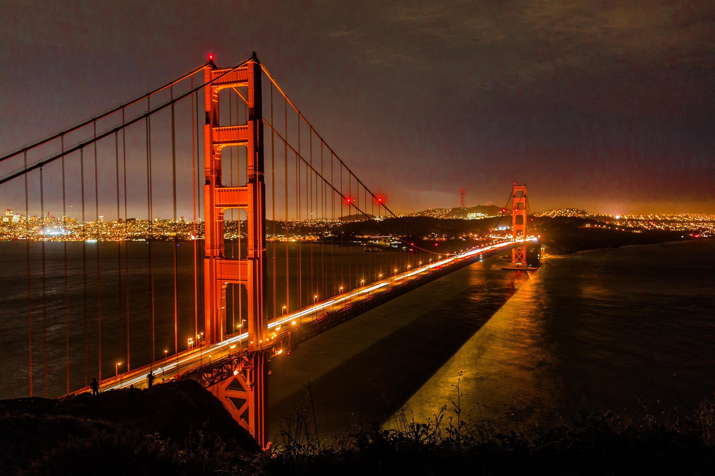 Golden gate bridge printed on canvas golden gate bridge for Golden night