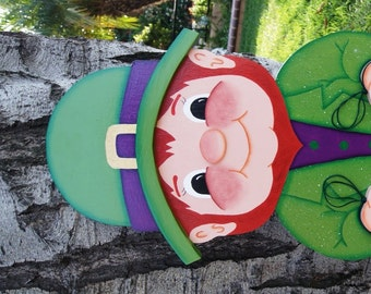 "St Patrick 34"" Tall Leprechaun Yard Art - St Patrick Wood Sign - Large Yard Art"