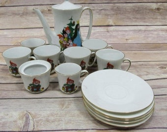 Snow White Vintage Antique China Tea Set , Rare Set From the Original Finland Storybook Edition Characters, with Reduced Shipping