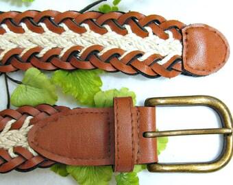 woven belt, brown belt, vegan flax leather belt - buckle belt, braided belt, casual belt, western belt, Size Waist up to 35 , # B 12