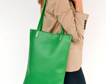 Bright green leather tote bag
