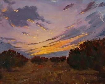 Original Painting of Greece, Agistri Olive Groves, Painting of Sunset, Small Landscape, Realism Paintings, Small Painting, 6x8 inch