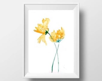 Flower watercolor painting abstract minimalist golden yellow nursery Wall Art Decor Botanical print for home office livingroom decor