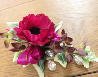 Cerise Pink Anemone Corsage, Wedding, Prom, Anniversary.