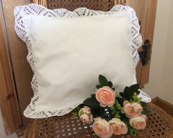 Vintage linen cushion white