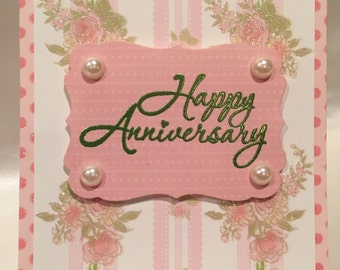 Happy Anniversary Card. Handmade Happy Anniversary card. Handmade Card.