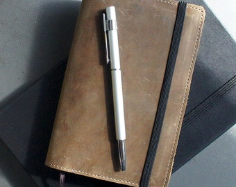 Handmade Moleskine Notebook Leather Cover - Distressed Brown (FREE PERSONALIZATION)
