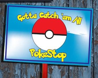 Pokemon, Pokemon Party, Pokestop, Pokemon sign, Pokemon birthday,pokemon,pokestop sign,Yard Sign,Lawn sign