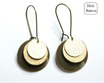 White and Golden Japanese paper earrings