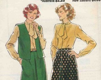 Style 2801 Sleeveless edge to edge cardigan or vest flared gathered skirt pullover blouse bias cut necktie Size 16 (uncut)