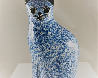 Vintage Ceramic Cat Statue - N.S. Gustin - Blue Cat Figurine