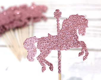 Glitter Carousel Horse Cupcake Toppers - Set of 12
