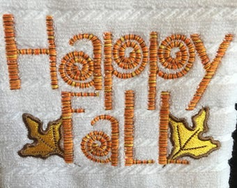 Embroidered Cotton Kitchen Towel, Happy Fall