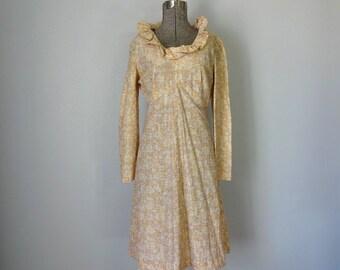 Vintage ZANDRA Dress •1960s Clothing •Metallic Gold Portrait Neckline 60s Gold Long Sleeve Knee Length Dress • Women Size Medium Large
