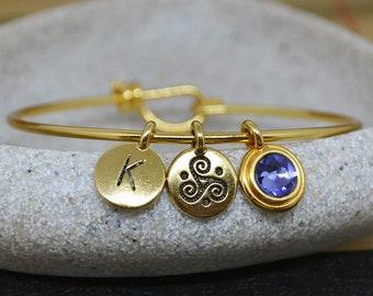 Triskele gold plated bangle bracelet with swarovski birthstone and initial, triskele charm bracelet, celtic bangle, celtic charm