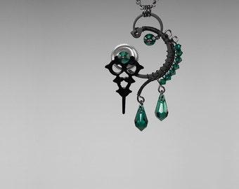 Steampunk Pendant with emerald Swarovski Crystals, Swarovski Necklace, Crystal Pendant, Statement Jewelry, Youniquely Chic, Hekate v13