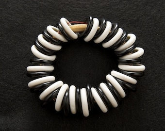 Funky Black and White Stretch Bracelet
