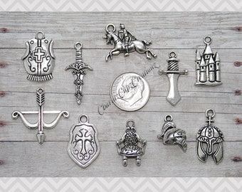10pc Medieval / Knight Charm Pendant Set Lot Collection /Jewelry, Scrapbooking, Crafts/ Choice of Split Rings, Lobster Clasps,European Bails
