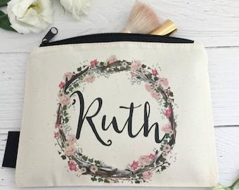 Personalised Floral Makeup Bag | Be My Bridesmaid | Bridal Party | Woodland Wedding | Boho Bride | Personalised Makeup Bag