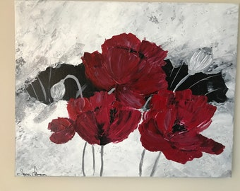 Original painting. ABSTRACT RED FLOWERS.