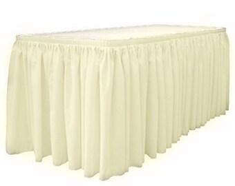 """14' x 29""""-Ivory Linen Like Soft Table Skirt Non Woven-Polyester/Nylon Blend 1 pc"""