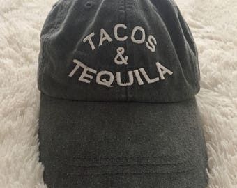 Tacos & Tequila Dad Hat - FREE SHIPPING - Tacos and Tequila, Dad Hat, Unstructured, Low-Profile, Pigment-Dyed