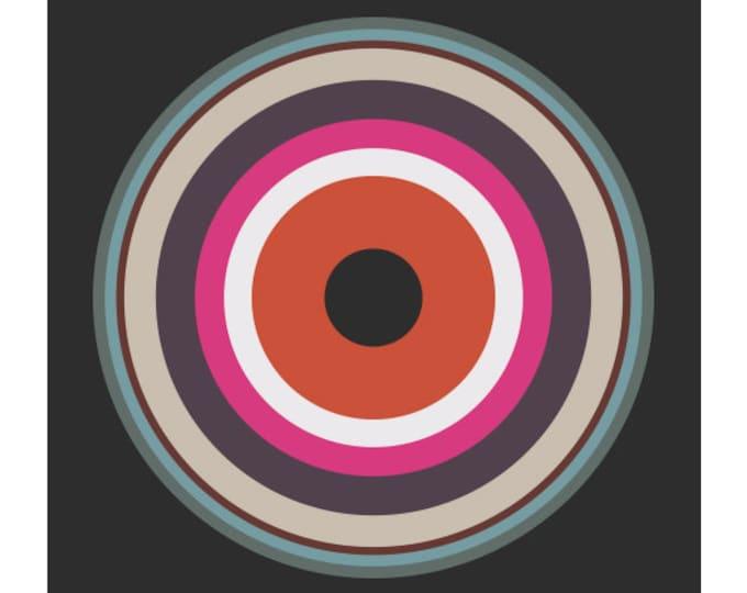 Around in Circles No. 2, Original Art Print, Geometric, Target, Abstract, Pink, Red, White