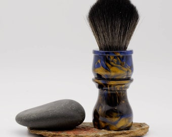 Shaving Brush - Hand-Made with hand-poured Blue and Gold Resin Handle and a Choice of Knots