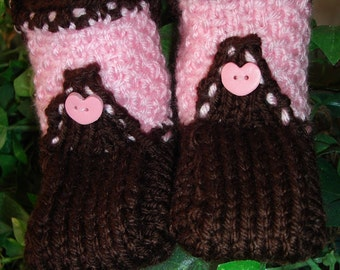Hand knit baby booties- Cowboy Boot-ies